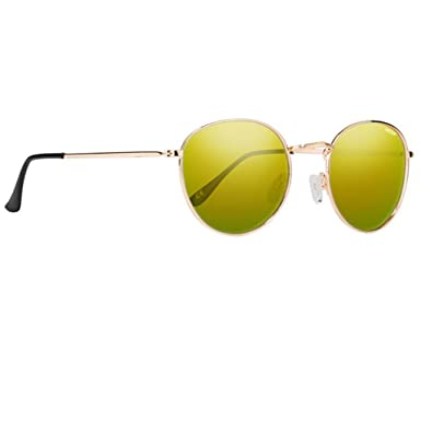 6d87dc4fde5 NECTAR Gold Metal Round Eye Polarized Sunglasses with Polarized Lenses and  UV Protection (Gold Frame
