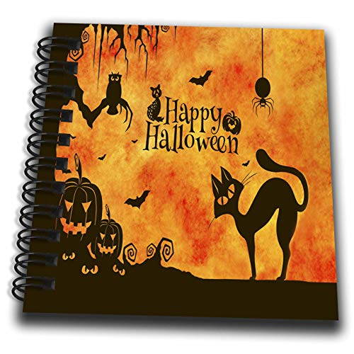 3dRose Sandy Mertens Halloween Designs - Cat, Owl, Bats, Spider, Jack o Lanterns Silhouettes, 3drsmm - Mini Notepad 4 x 4 inch (db_290231_3) ()