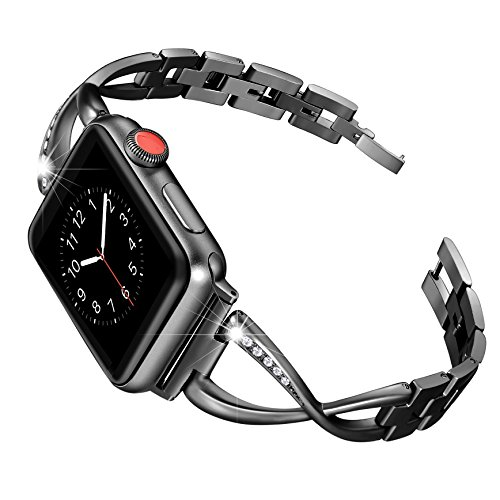 Secbolt for Apple Watch Band 38mm Women Black Stainless Steel Accessories Metal Replacement Wristband for Iwatch Series 3, Series 2 1, Edition X-Link Sport Strap (Black Girl Bands)