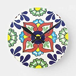 Moonluna Mexican Talavera Tile Red Green Yellow Blue Wall Clock Decor for Bedroom Nursery Round Silent Wood Wall Clock Art for Kids Room 12 Inches