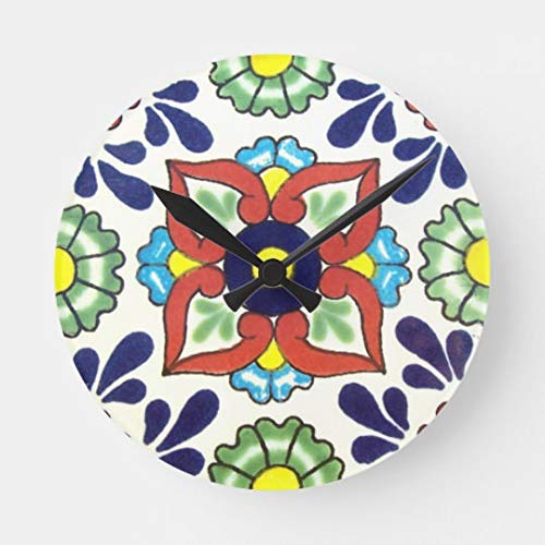 Moonluna Mexican Talavera Tile Red Green Yellow Blue Large Wall Clock for Kitchen Bedroom Living Room Home Office Decor 16 Inches ()