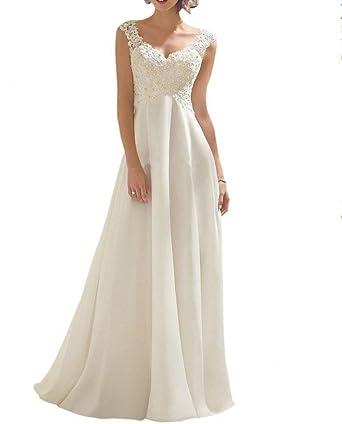 Royaldress Elegant Elfenbein Spitze Chiffon Hochzeitskleider Langes ...