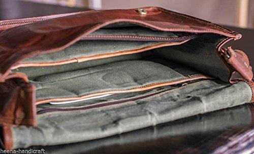 Leather Full Flap Genuine Men's Auth Real Leather Messenger Laptop Briefcase Satchel Mens Bag (13 x 18)