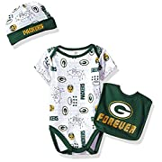 NFL Green Bay Packers Boys Bodysuit Bib & Cap Set, 3-6 Months, Green