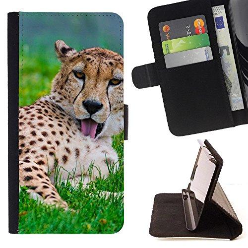 God Garden - FOR Apple Iphone 6 PLUS 5.5 - Cheetah Predator - Glitter Teal Purple Sparkling Watercolor Personalized Design Custom Style PU Leather Case Wallet Fli