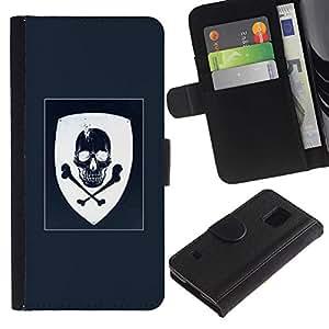 iKiki Tech / Cartera Funda Carcasa - Coat Of Arms Blue White Skull Pirate - Samsung Galaxy S5 V SM-G900