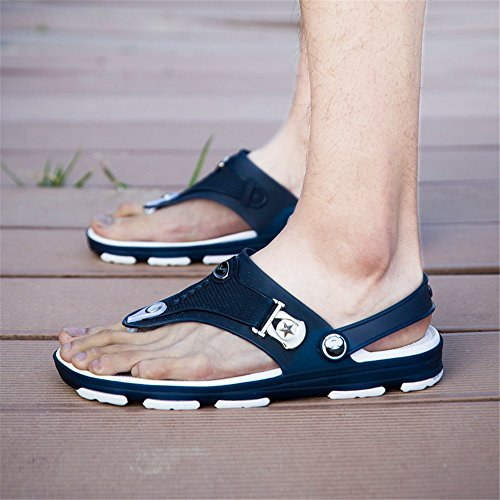 Eagsouni Men's Flip-Flops Sandals Summer Arch Support Thongs Breathable Lightweight Cozy Slip on Slippers for Beach Pool Shower Size 6-10.5 Darkblue uelixkJp