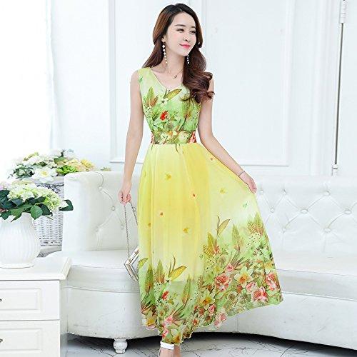 XIU*RONG Nieve De Verano Vestidos De Impresión Textil Gran Patio Con Una Falda Larga De Vacaciones En La Playa yellow