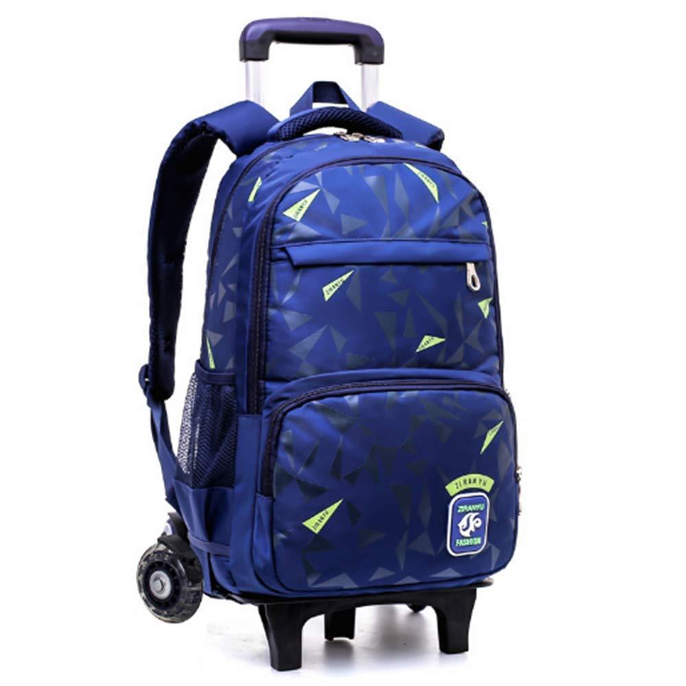 Multifunction Large Capacity Rolling Rucksack - Abnehmbare Trolley Kinder Schultasche(Blau 2 Räder)