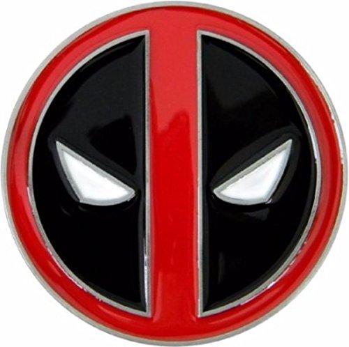 Marvel's Deadpool Red and Black Logo Metal Enamel Belt Buckle