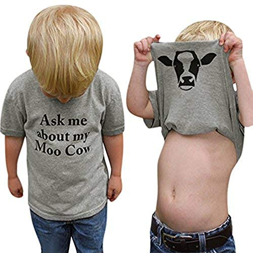 Baby Boys Clothes Short Sleeve Letter Cow Print Tops T-Shirt (5T, Dark Gray) ()