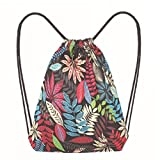 Kanzd Fashion Women Leaf Printing High Capacity Bucket Bag Backpack Shoulder Bag (A)