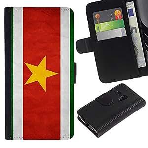 Billetera de Cuero Caso Titular de la tarjeta Carcasa Funda para Samsung Galaxy S3 MINI NOT REGULAR! I8190 I8190N / National Flag Nation Country Suriname / STRONG