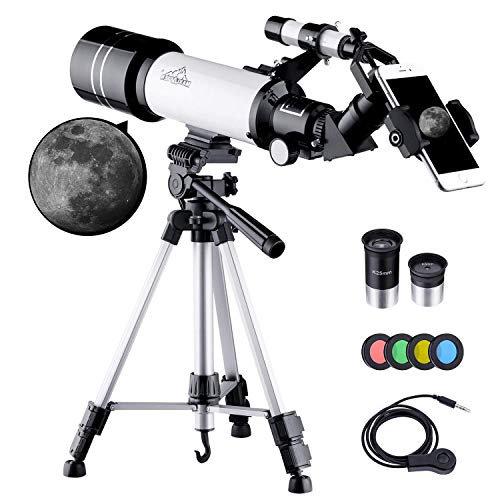 MAXLAPTER Kids Telescope for Adults Astronomy Beginners, 70mm Travel Refractor Telescope with Adjustable 47inch Tripod, Smartphone Adapter, Camera Shutter Wire Control, Backpack and Moon Filter (Best Telescope For Stargazing)