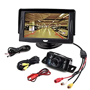 "aokur 12V Parking Backup IR Camera Night vision Kit with 4.3"" LCD Monitor Pickup Truck Camper Reverse RearView Monitor"