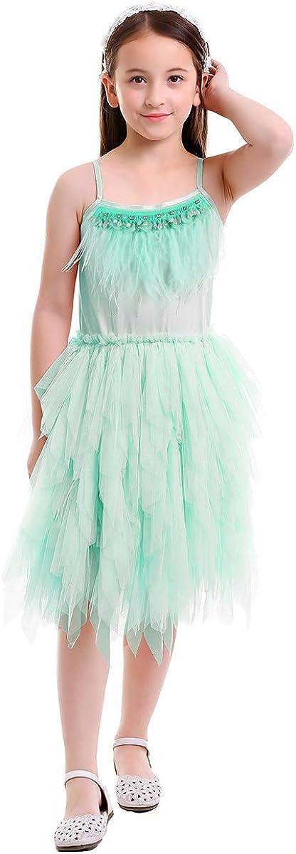 FYMNSI Kid Girls Princess Spaghetti Strap Feather Birthday Ruffle Tutu Party Dress