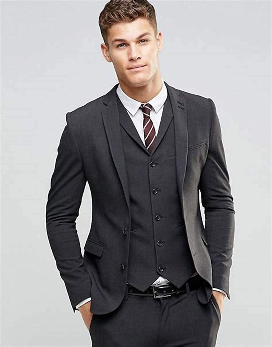 QZI Mens Suits Tailored 3 Piece Suit Morden Tailcoat Prom Waistcoat Formal
