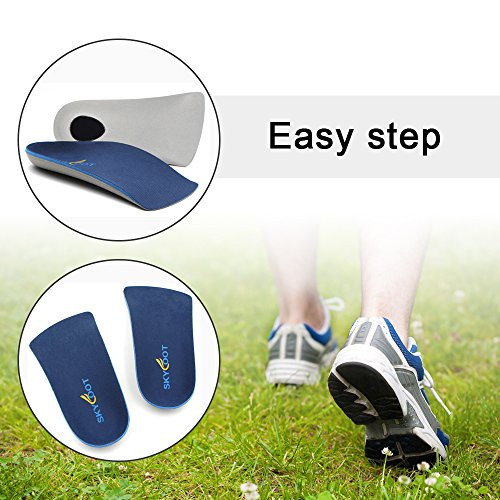 Skyfoot's 3/4 Orthotics Shoe Insoles - Arch Support Correct Over-Pronation, Fallen Arches, Flat Feet Metatarsal Support Insoles (S - W7-8.5   M5.5-7)