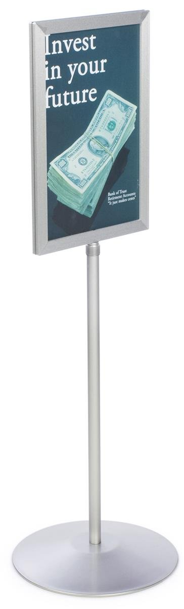 Displays2go Pedestal Sign Holder Stand with Telescoping Post, Double-Sided Poster Frame for 11 x 17 Graphics, Top-Loading Design - Silver/Aluminum (TLS1117SV)