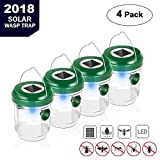 Umiwe Wasp Trap Catcher,4 Pcs Waterproof Life Outdoor Bee Trap Effective &Reusable Fly Trap With Solar Powered Ultraviolet Led Light Traps For Wasps, Bees, Yellow Jackets, Hornets, Bugs, Fly And More