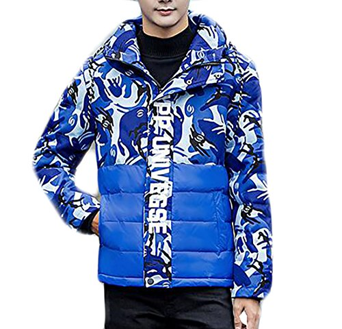 Lightweight Blue Hoodie Outwear Jacket Trench Down Men's Camo Coat today UK Long wqnFPIx