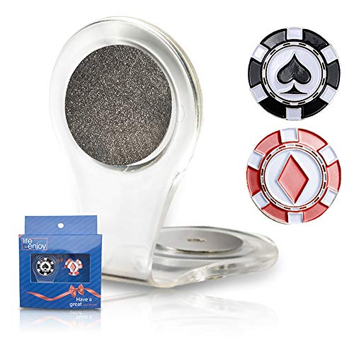 (Golf Ball Marker Clip - Two Poker Chip Markers - Attach To Your Pocket Edge, Belt, Clothes - Strong, Easy To Use Magnetic Mechanism - Transparent Color To Match With Anything . Great Gift!)