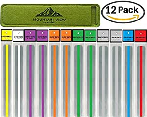 (12 PACK) Reading Guide Strips by NISPCOwith Case / Highlighter / Highlight Strips / highlighter tape / Colored Overlays / Bookmark /helps with dyslexia / DOMINATION PRODUCTS Exclusively by NISPCO