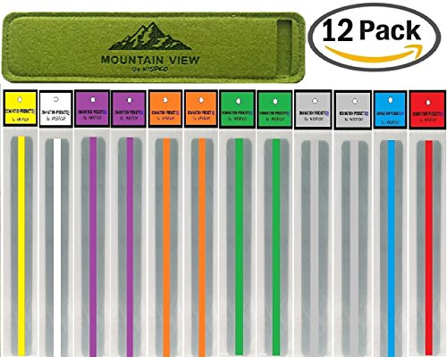 (12 PACK) Reading Guide Strips by NISPCOwith Case / Highlighter / Highlight Strips / highlighter tape / Colored Overlays / Bookmark /helps with dyslexia / MOUNTAIN VIEW Exclusively by NISPCO