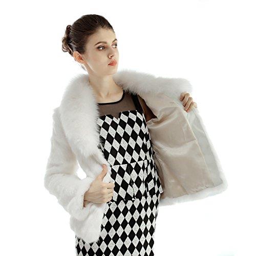 Bellerfur Conejo Natural Las mujeres del abrigo de pieles de zorro chaqueta de cuello Blanco