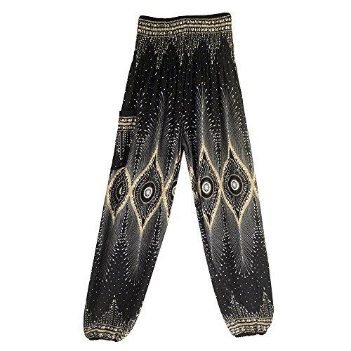URIBAKE Men Women's High Waist Yoga Pants Loose Soft Boho Festival Hippy Smock Thai Harem Trousers Black ()
