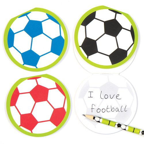 Ball Pad Memo - Baker Ross Soccer Football Memo Pads School Set for Children - Fun Party Bag Stuffer Loot Gifts for Kids (Pack of 6)