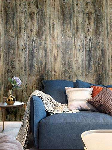Blooming Wall HHM02 Peel&Stick Vintage Wood Panel Wood Grain Shiplap Textured Thick Self-Adhesive Wallpaper Wallcoverings for Wall Wall Décor Contact Paper