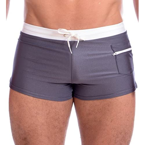 50e23853e3 Men's Front Zip Pocket Boxer Brief Swimsuit By Gary Majdell delicate ...