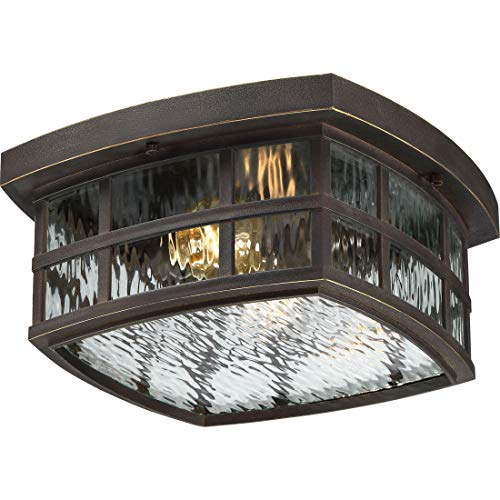 (Quoizel SNN1612PN Stonington Outdoor Flush Mount Ceiling Lighting, 2-Light, 120 Watts, Palladian Bronze (6