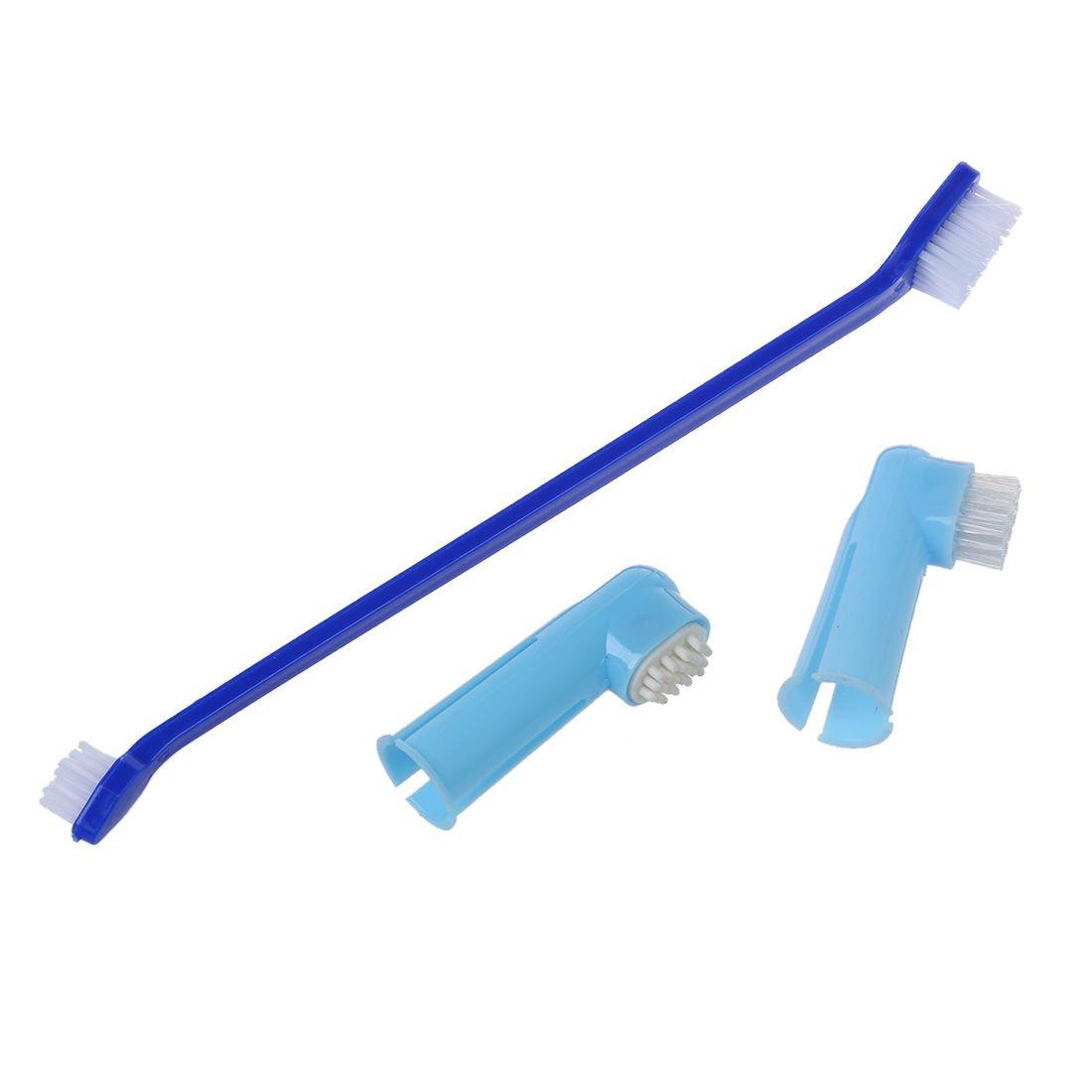 TOOGOO(R) Rose Bleu Blanc Plastique Poignees doux Brosse a poils Doigt Animal de compagnie Brosse a dents 3 en 1 SODIAL