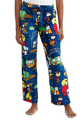 Peanuts Halloween Snoopy Charlie Brown Women's Pajama Minky Fleece Sleep Pants, Blue, Medium / 8-10 -