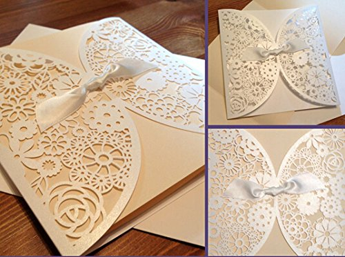 Amazon diy laser cut lace vintage flower wedding invitation amazon diy laser cut lace vintage flower wedding invitation template invite card cover with white bows 25pcs kitchen dining filmwisefo