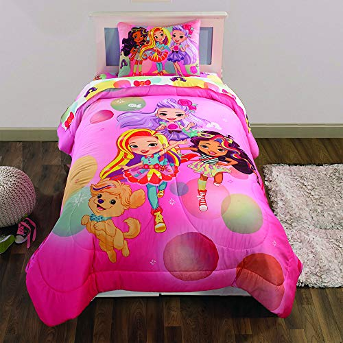 Nickelodeon Sunny Day Soft Microfiber Reversible Kids Bedding Comforter and Pillow Sham Set, Twin/Full, Pink