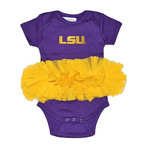 Two Feet Ahead NCAA LSU Tigers Children Girls Tutu Creeper,12Mo,Purple/Gold