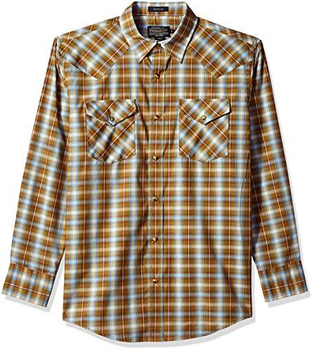 Pendleton Men's Long Sleeve Button Front Classic-fit Frontier Shirt, Brown/Turquoise Plaid, X-Large