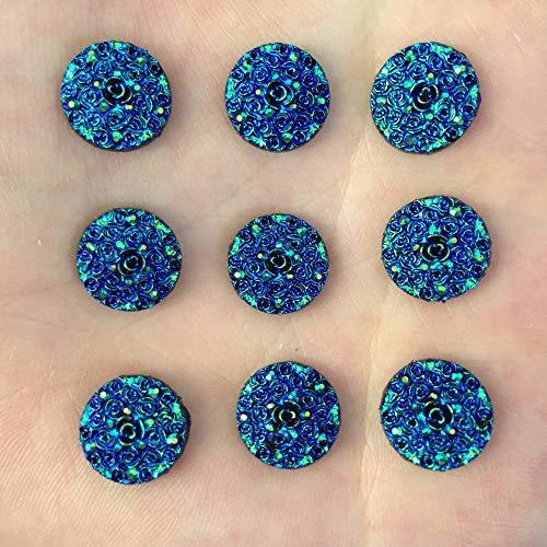 New DIY 80pcs 12mm AB Round Resin Rose Stone Flatback Wedding Buttons Crafts