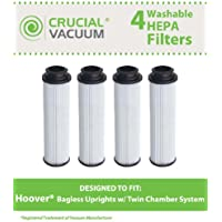 4 Replacements for Hoover Windtunnel Bagless HEPA Style Filter Fits Empower & Savvy, Compatible With Part # 40140201, 43611042 & 42611049, Washable & Reusable, by Think Crucial