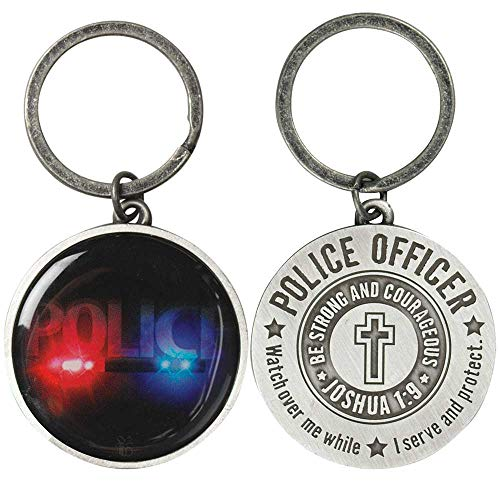 Police Officer Be Strong & Courageous Burnished Silver Tone Metal Key Chain