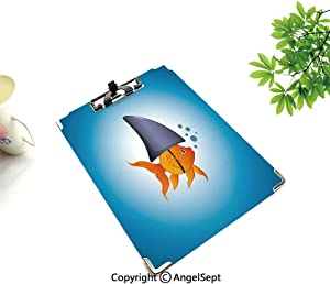 A4 Clipboard Paper Clips,Shark,for Office School Workers Business Use,Little Goldfish Wearing A Shark Fin to Scare Predators Success Concept Decorative,Violet Blue Grey Orange