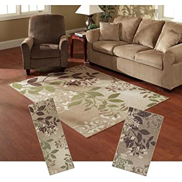 Mainstays Belvedere 3 Piece Nylon Area Rug Set Beige