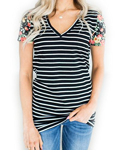 LuckyMore Womens Chic Tops V-Neck Floral Short Sleeve Loose Long Tshirts Blouse Black L (Striped T-shirt Long)