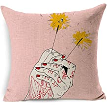 ECSEO 18x18 Inches Cotton Linen Square Decorative Throw Pillow Covers Zippered Cushion Cover for Sofa Pink