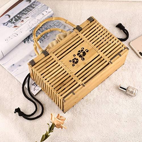 sac évider à main couleur femmes voyager et Solide main unique pour des sac carrée sac bambou tissé Delicacydex à en achats dehors mode en T4tn6aax