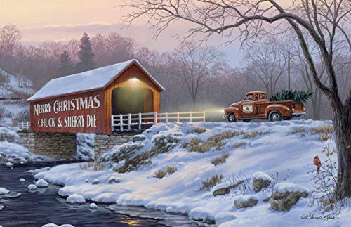 - Personalized Snow Covered Bridge Scene Poster Print | Unique Christmas Gift | 11x17