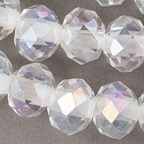 Cherry Blossom Beads Large Hole Faceted Crystal 8x10mm Clear Rondelles with an AB finish and a 2.5mm Drilled Hole - 8 Inch (Beads Large Assortment)